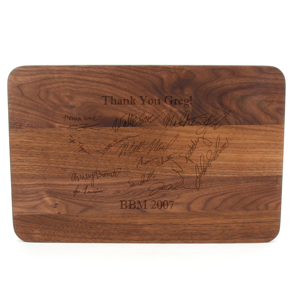 "Carved Monogram 10 1/2"" x 16"" Rectangle Walnut Cutting Board w/Twisted Ball Handles and Laser Engraved Signatures"