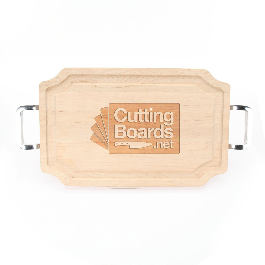 """Logo Engraved 15"""" x 24"""" Scalloped Maple Cutting Board w/Polished Handles and Laser Engraved Signatures"""