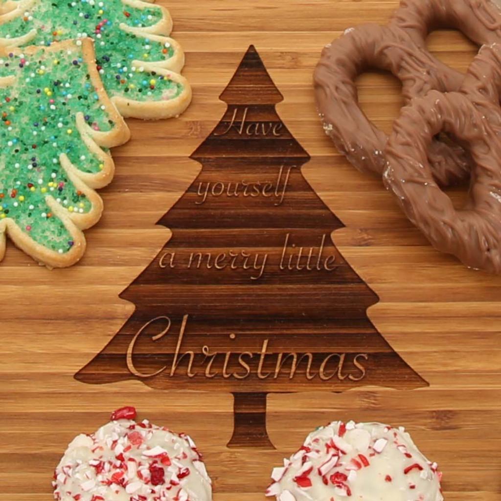 Christmas Tree Round Bamboo Cheese Board