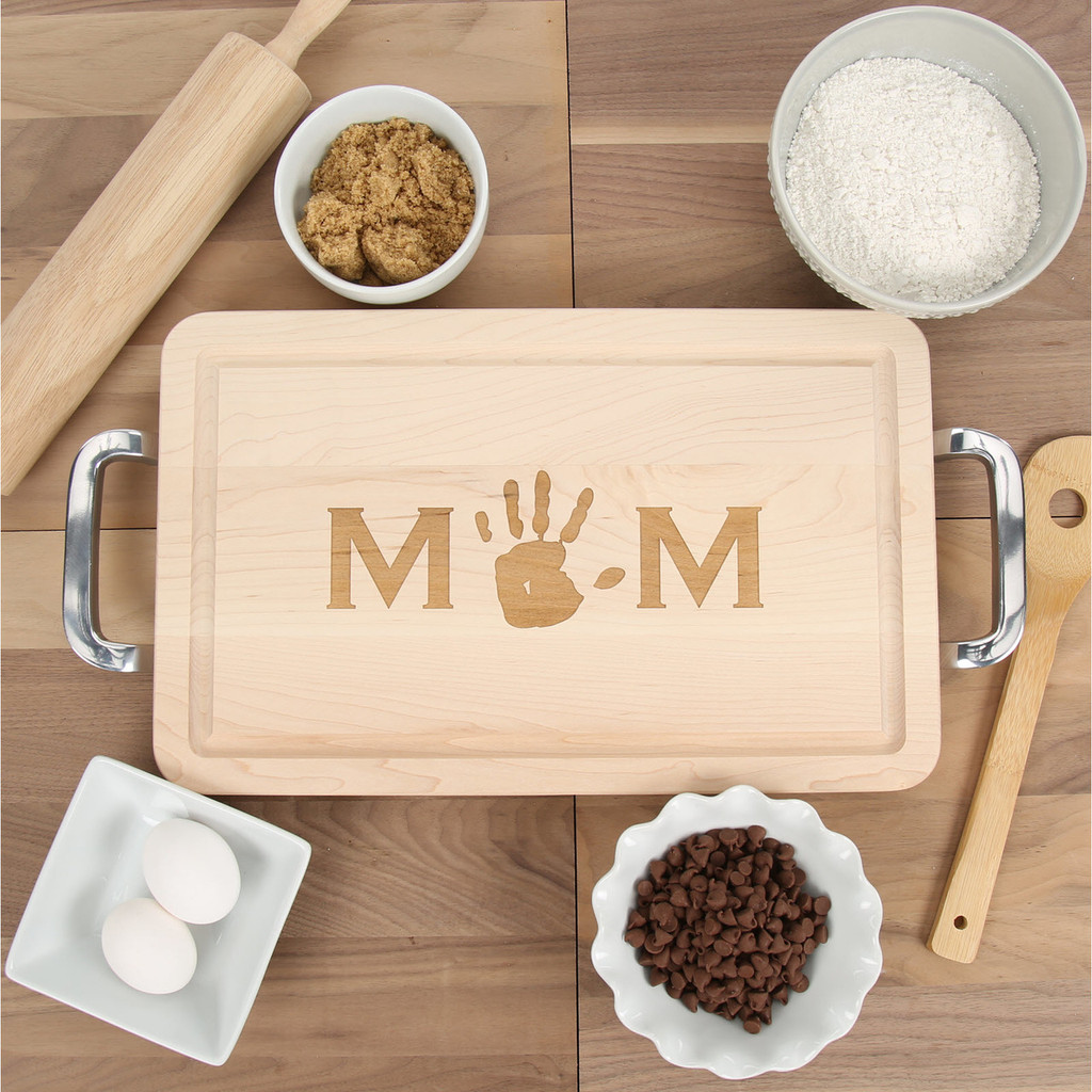 Mom's Maple Cutting Board with Handprint