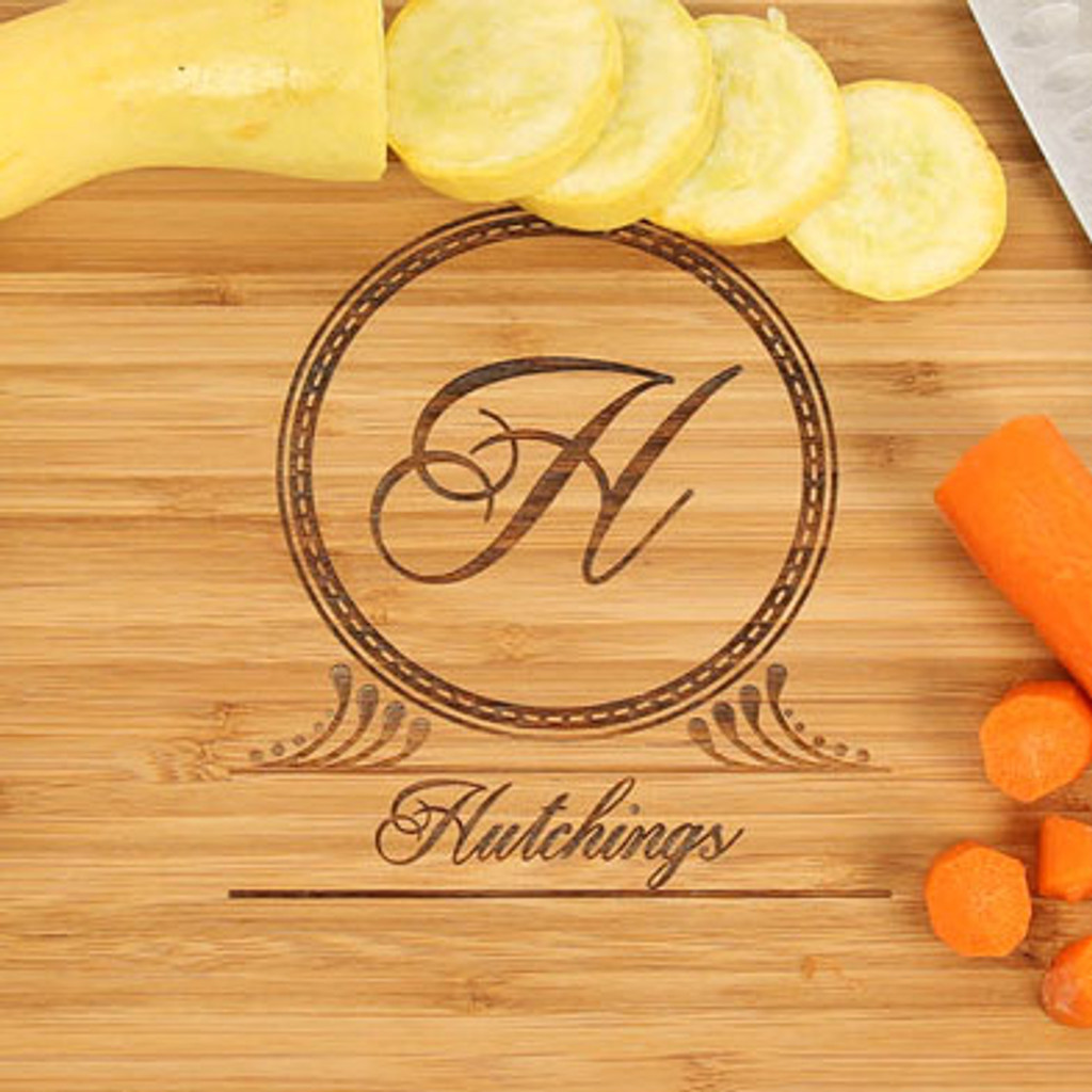 Art Deco Monogrammed Engraved Cutting Board