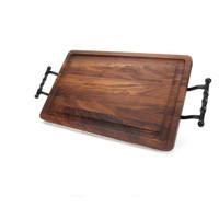 """Wiltshire 15"""" x 24"""" Cutting Board - Walnut (w/ Twisted Ball Handles)"""