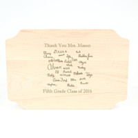 """Carved Monogram 12"""" x 18"""" Scalloped Maple Cutting Board w/Polished Handles and Laser Engraved Signatures"""