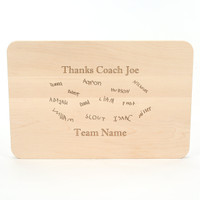 """Sport Engraved 9"""" x 12"""" Rectangle Maple Cutting Board w/Cleat Handles and Laser Engraved Signatures"""