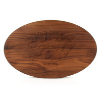 """Carved Initial 15"""" x 124"""" Trencher Walnut Cutting Board w/Laser Engraved Signatures"""