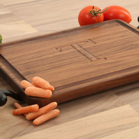 Carved Walnut Rectangle Cutting Board