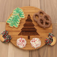 Christmas Tree Round Bamboo Cheese Board