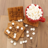 Merry & Bright Bamboo Coaster Set