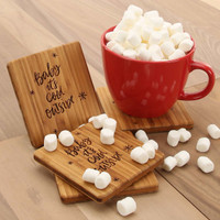 Baby It's Cold Outside - Bamboo Coaster Set