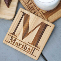 Standard Monogram Engraved Cutting Board with FREE Coasters!