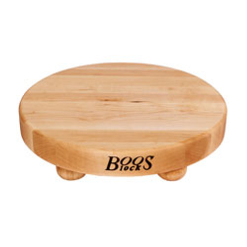"John Boos Maple B12 Cutting Board - 12"" Diameter - with Bun Feet"