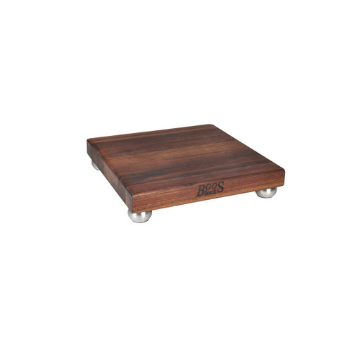 "John Boos Walnut B12 Cutting Board - 12""x 12""x 1-1/2"" with Stainless Steel Feet"