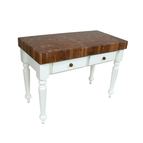 "John Boos Walnut Rustica Prep Table, Kitchen Island - 48""x 24""x 4"" - Alabaster Base"