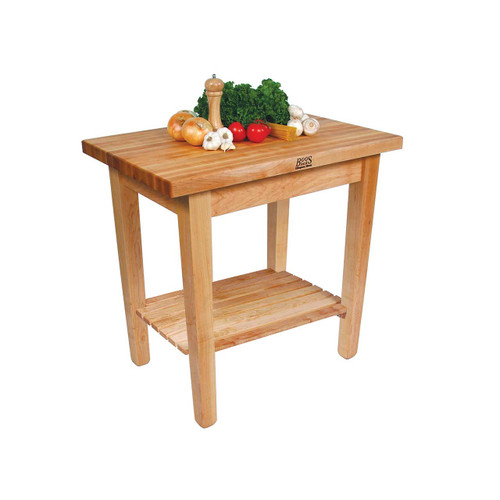 "John Boos Country Work Table with Shelf - 36""x24""x1-3/4"""