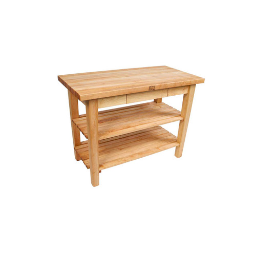 "John Boos Country Work Table with 2 Shelves - 48""x24""x1-3/4"""