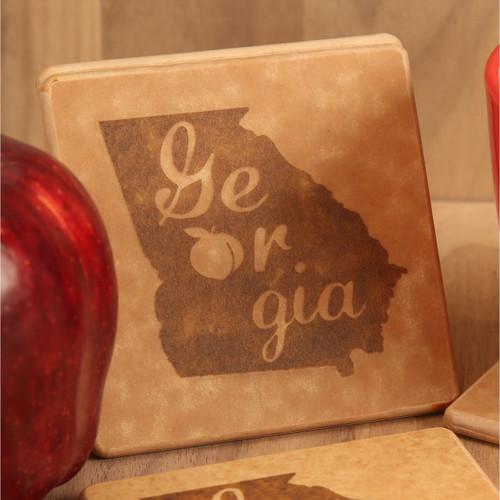 Georgia Engraved Coaster Set
