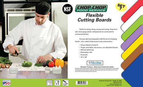 "Chop-Chop Food Service Color Coded Flexible Cutting Boards, Size 12"" x 18"", Pack of 7"