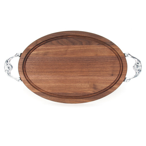 "Grandbois Standard 12"" x 18"" Cutting Board - Walnut (w/ Victorian Handles)"