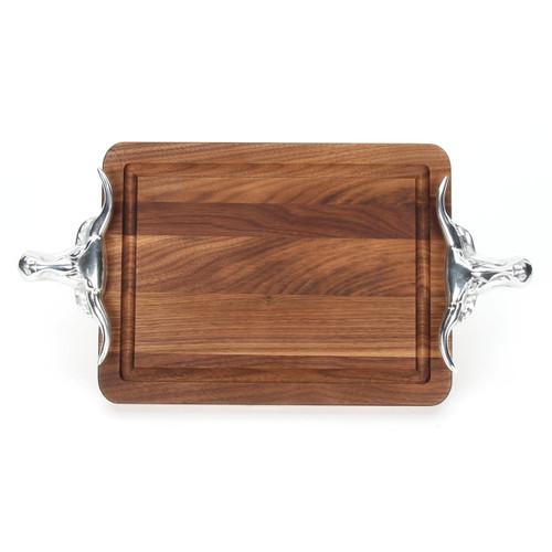 """Wiltshire 9"""" x 12"""" Cutting Board - Walnut (w/ Long Horn Handles)"""