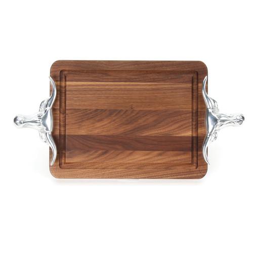 """Wiltshire 10"""" x 16"""" Cutting Board - Walnut (w/ Long Horn Handles)"""