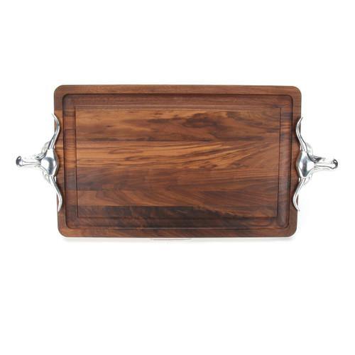 """Wiltshire 15"""" x 24"""" Cutting Board - Walnut (w/ Long Horn Handles)"""