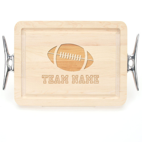 "Sport Engraved 9"" x 12"" Rectangle Maple Cutting Board w/Cleat Handles and Laser Engraved Signatures"