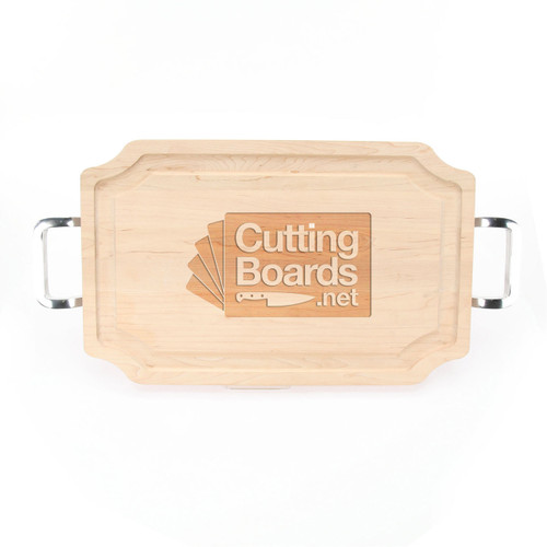 "Logo Engraved 15"" x 24"" Scalloped Maple Cutting Board w/Polished Handles and Laser Engraved Signatures"