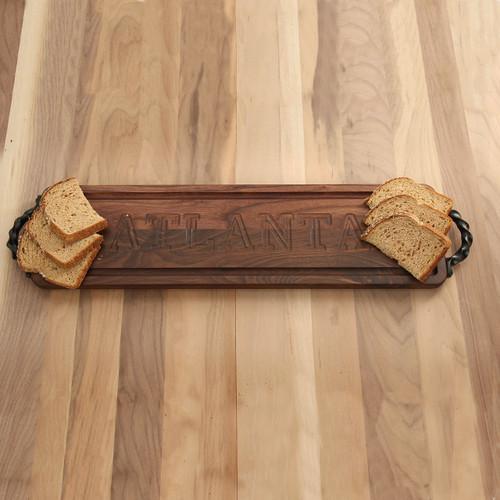 Carved City Walnut Bread Board