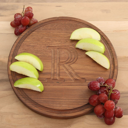 Carved Walnut Circle Cutting Board