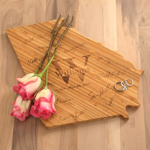 Signature State Shaped Bamboo Cutting Board