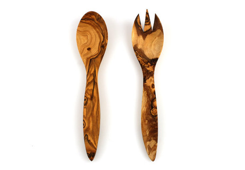 Gorgeous and unique olive wood salad set