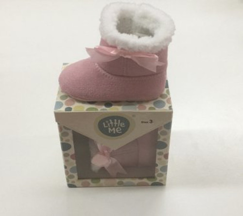 Little Me Pink Baby Booties (size 3)