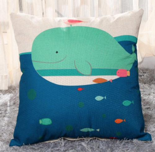 Cotton Linen Whale print throw pillow, poly fill Approximately 18' x 18'