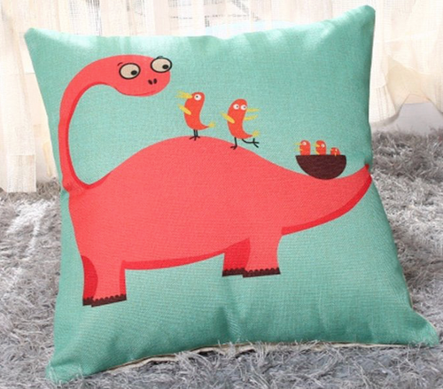 Cotton Linen dinosaur with birds print throw pillow, poly fill Approximately 18' x 18'