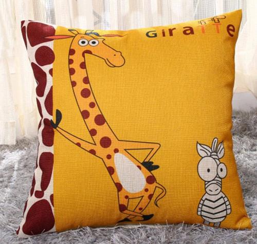 Cotton Linen Giraffe print throw pillow, poly fill Approximately 18' x 18'
