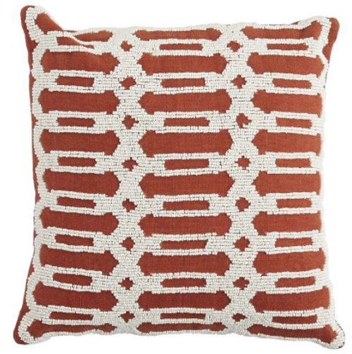 Pier 1 beaded geometric pillow in Cargernet