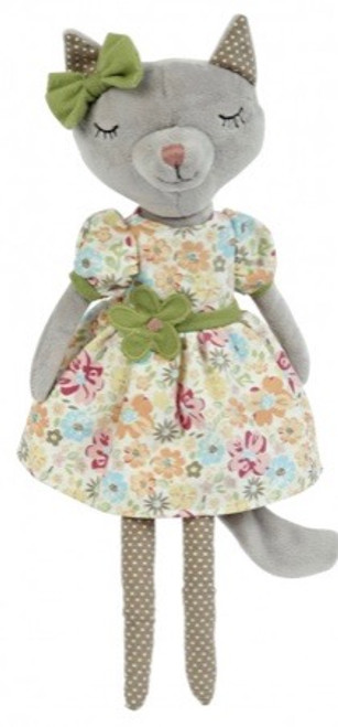 This dainty cat is dressed in a pretty blossomy dress with a flower sash and matching bow. 16 inches tall.