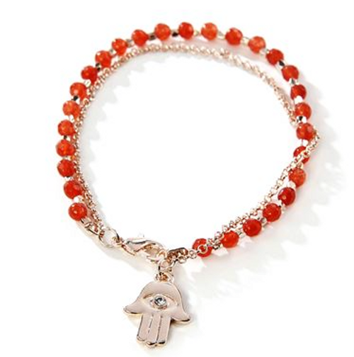 Thoughts to Share Beaded Charm Bracelet. The expressive collection features symbolic imagery and motifs. Hamsa Hand Design with Glass Faux-Red Garnet stone. Backer-card reinforces design's symbolism with sentiment in gold typography. I AM A SURVIVOR. Iron Alloy and Glass.