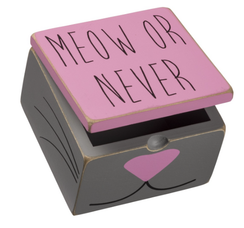"Meow or Never Hinged Box Wood and paint construction 4"" x 4"" x 2"" approx. Primitives By Kathy"