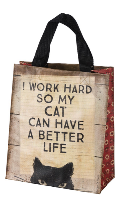 """A rustic daily tote bag made from 95% post-consumer material lending double-sided, distressed """"I Work Hard So My Cat Can Have A Better Life / Wake Up Hug The Cat Have A Happy Life"""" sentiments with cat designs and patterned side panels.  8.75x10.25x4.75 in"""