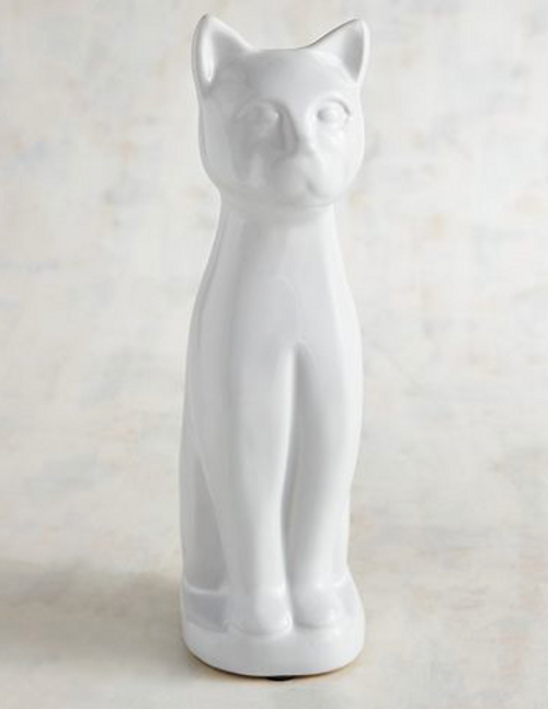 White Ceramic Standing Cat