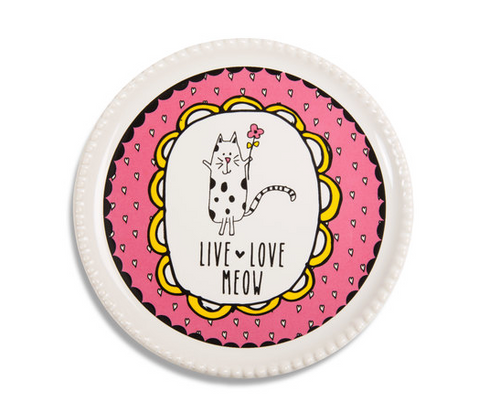 Live Love Meow Coaster Cap Dish
