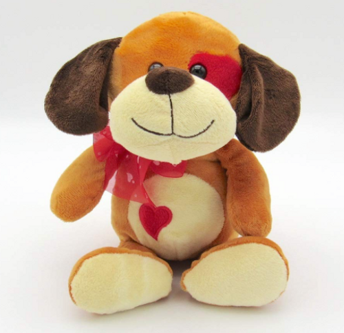 Giftable 9.5� Stuffed Plush Toy Dog with Heart Emblem and Heart Spot on Eye
