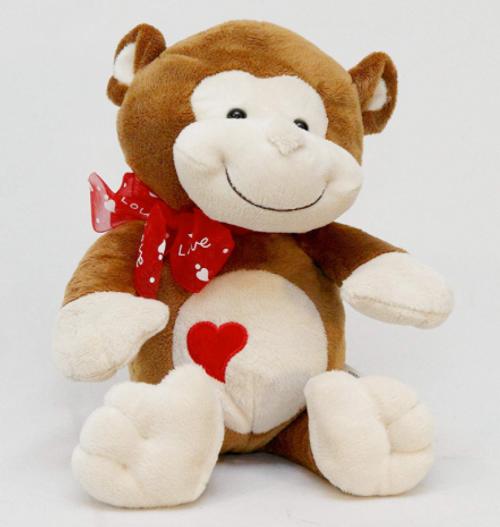 9.5� Stuffed Plush Toy Monkey w/Heart Emblem and Red Ribbon
