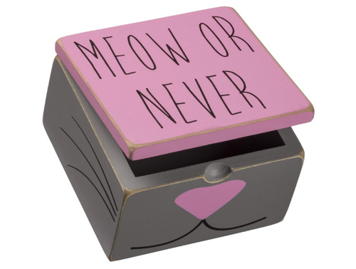 Primitives by Kathy PBK Pet Decor - Meow or Never Pink Gray Hinge Box