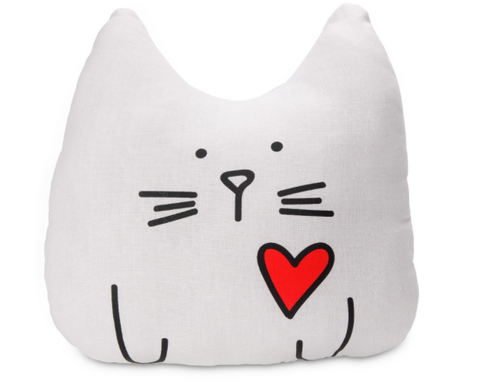 Pavilion Gift Company Blobby Cat - The Cat's Meow! White Cat Pillow 14 Inch