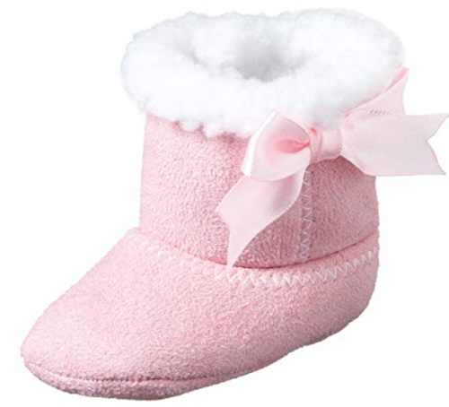 Little Me Baby-Girls Newborn Faux Suede Boot Socks With Fur Lining and Bow, Pink, 9-12 Months