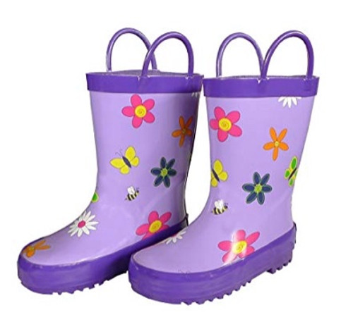 Foxfire for Kids Lavender Rubber Boots with Flowers Size 2