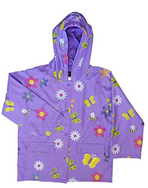 Foxfire for Kids Lavender Rain Coat with Flowers Size 6
