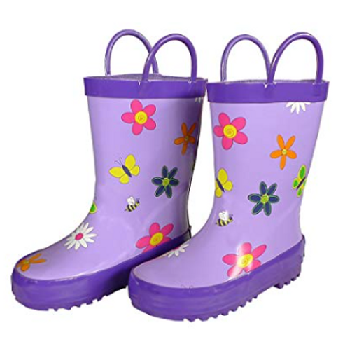 Foxfire for Kids Lavender Rubber Boots with Flowers Size 10